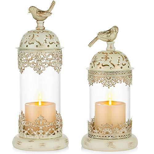 Nuptio 2 Stück Vintage Säule Kerzenhalter Marokkanische Schmiedeeisen Hurrikan Kerzenhalter Verzierte Herzstück für Kaminsims Dekorationen, Kerzenhalter für Tisch Wohnzimmer Balkon Garten