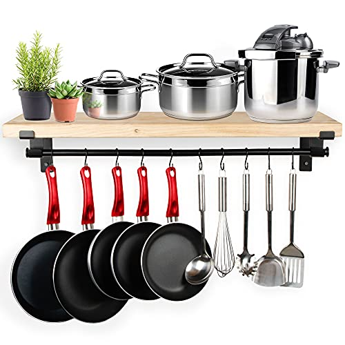 Hanging Pot Rack by Mildenhall - 3-in-1 Size Options For Custom Fit - Wall Mount Cookware Organizer Rack - Sturdy Carbon Steel Construction - Farmhouse Style Kitchen Storage For Pots, Pans, Utensils