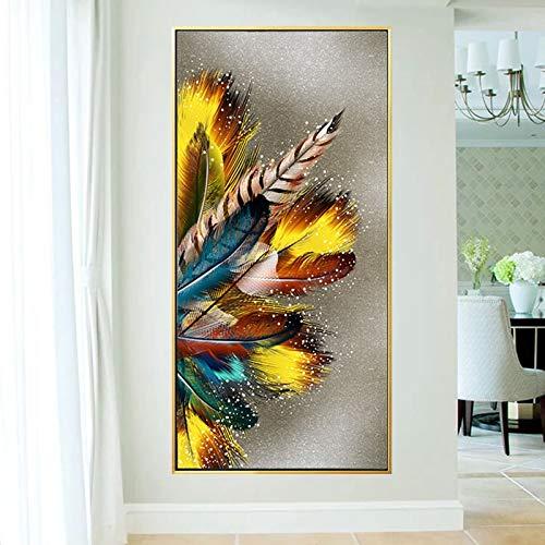 sanzangtang Rahmenlose Malerei Federdruck Wanddekoration abstraktes Wohnzimmer nach Hause posterZGQ4569 30X60cm