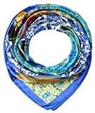 corciova 35' Large Women's Satin Square Silk Feeling Hair Scarf Wrap Headscarf Cerulean Blue Floral Flowers Pattern