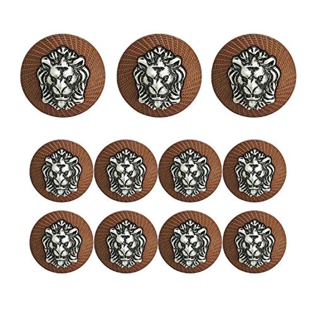 Grekywin 3D Lion Head Button, Circular Metal Vintage Button, for Coat, Blazer, Suits, Uniform, Jacket, etc (Black Color), 11 Pcs (Coffee)