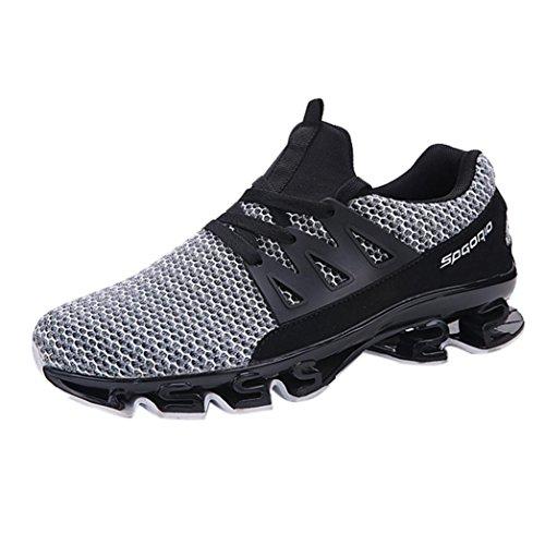 Zarupeng Herren Sportschuhe, Casual Walking Sneaker Schnürer Turnschuhe Slip-On Outdoor Sportschuhe Atmungsaktives Mesh Laufschuhe Fitnessschuhe (39 EU, Weiß)