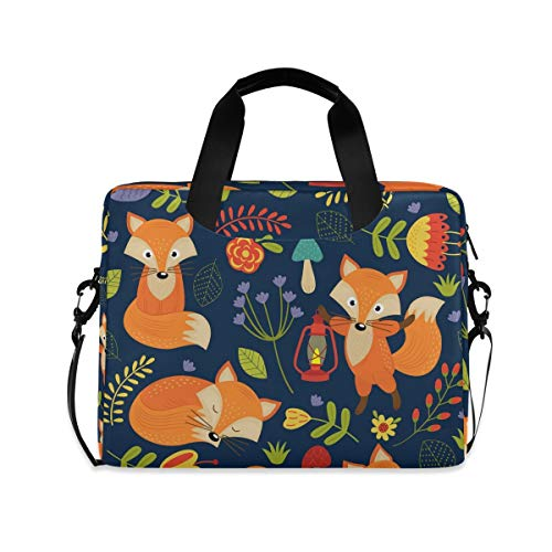XIXIKO Cute Animal Fox Flower Laptop Bag Expandable Trolley Briefcase Bag for Women Men with Detachable Strap for Work Trip Business Travel iPad MacBook