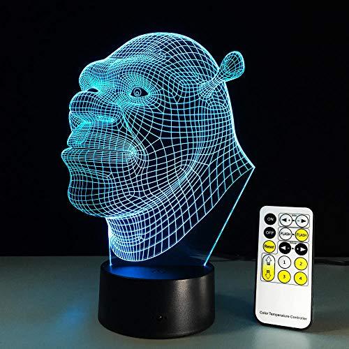 Shrek Lamp 3D Visual Led Night Light Luminaria Con Sensor Táctil Remoto Decoración De Luz Lampada Como Baby Kid Sleeping Mood Lamp