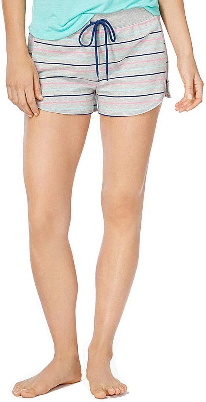 Jenni Knit Boxer Pajama Shorts, Grey with Aqua, Pink and Navy Stripe, Large