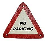AB Tools No Parking Triangle Cast Iron Sign Plaque Door Wall Post Cafe Shop Pub Hotel Bar