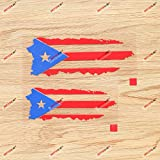 Puerto Rican Flag Puerto Rico PR Map Outline Decal Vinyl Sticker - 2 Pack Red+Blue, 5 Inches, 6 Inches - No Background for Car Boat Laptop