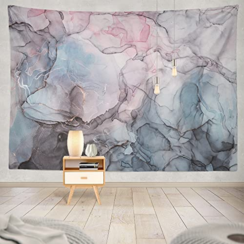 ASOCO Marble Pink Tapestry Blue Modern Decoration Abstract Wall Tapestry Colorful Watercolor Grey Gouache Wall Hanging Decor Multicolor for Dorm Bedroom Living Room Home(60 x 80Inches)