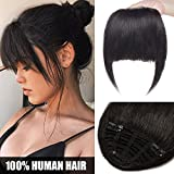 Frange Cheveux Naturel a Clip - Postiche Extension 100% Cheveux Humains Lisse Bang Fringe - #1B NOIR NATUREL