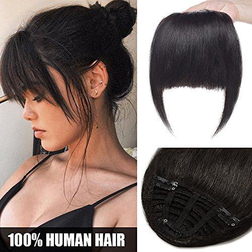 Flequillo Postizo Pelo Natural Postizos Extensiones de Cabello Natural Clip Postiche 100% Pelo Humano Clip in Human Hair #1B Negro Natural