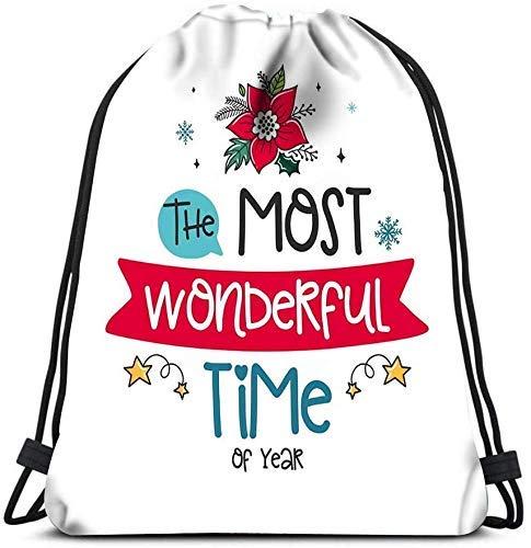 IUBBKI Drawstring Backpack, Bags Christmas Poinsettia Decor Elements Color Image The Portable Shoulder Bags Travel Sport Gym Bag Storage Bags