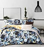 MILDLY Bedding Duvet Cover Sets King Size, 100% Egyptian Cotton Duvet Cover with Zipper Closure and 2 Pillow Shams, Colourful Natural Pebble Stone Pattern Printed, Keller