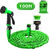 HOMOZE Garden Hose Pipe 100FT Garden Hose Expanding Flexible Magic Hosepipes With 8