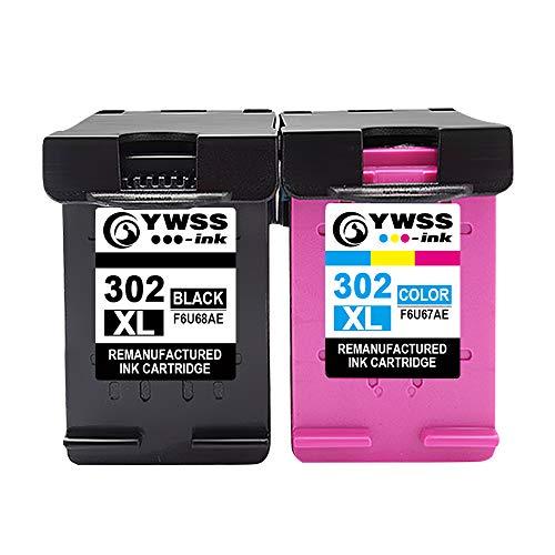 YWSS Remanufacturéd Cartouches d'encre Cartouche HP 302 XL 302XL (1 Noir, 1 Tri-Couleur) Compatible avec HP Envy 4520 4525 4527 4521 Deskjet 3630 3632 3636 2130 Officejet 4657 4650 Imprimante