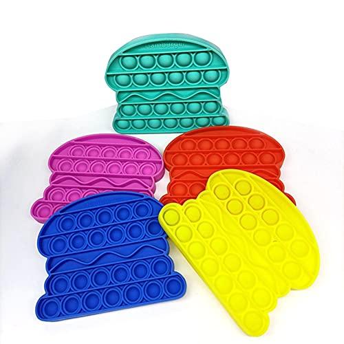 TISESIT INDOOR Push Pop Pop Bubble Fidget Sensorial Juguete, Juego Explotar Burbujas Autismo Ansiedad Juguetes para Aliviar La Ansiedad (5 Piezas De Color Aleatorio)