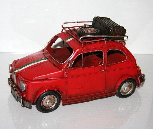 Sifcon FIAT 500 modelauto van plaatstaal, 31 cm, rood, met dakbagagedrager