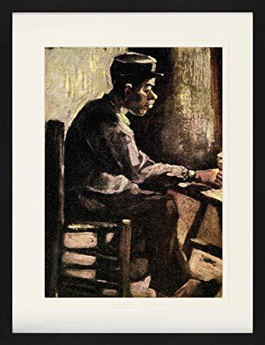 1art1 Vincent Van Gogh Poster De Collection Encadré - Paysan À Table, 1885 (80 x 60 cm)