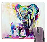 Knseva Abstract Vintage Colorful Indian Elephant Oil Painting Art Mouse Pad, Watercolor Mother Elephants Baby Print Artwork Mouse Pads