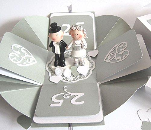 Geldgeschenk Geschenkschachtel Geschenkverpackung Geschenk zur Silberhochzeit Silberne Hochzeit Explosionsbox handgefertigt Geschenkbox Gutschein -verpackung