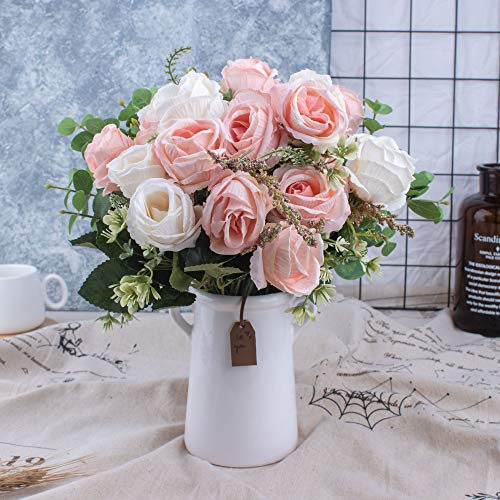 BEGONDIS Aitificial Bouquets Rose Flowers with Ceramic Vase, Pink and White Silk Fake Faux Rose Flower Arrangement for Table Centerpiece, Home Office Wedding Decoration
