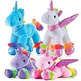 Prextex Unicorn Plush Toys 4 Piece Cute Unicorn Stuffed Animals - Stuffed Animal...
