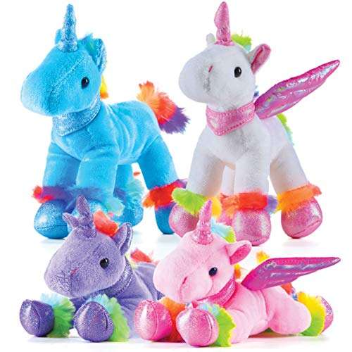 Prextex Unicorn Plush Toys 4 Piece Cute Unicorn Stuffed Animals  Stuffed Animal Winged Rainbow Unicorns