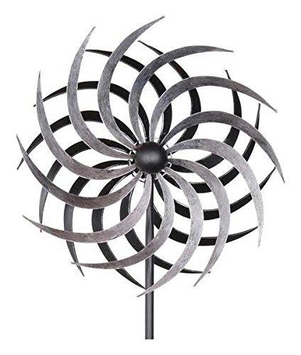 Kleines Windrad Garten - Silber/Metall - Ø 40cm / Höhe: 180cm - Wetterfest - Hochwertige Qualität & Stabiler Standstab - Gartenstecker/Metallwindrad/Windräder - Silberwindrad