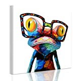 RAIN QUEEN 50 * 50cm Multicolor Animal Grand Format Impression sur Toile Bois Châssis Wall Art (50X5cm Grenouille)