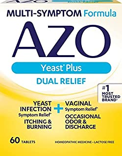AZO Yeast Plus Dual Relief Homeopathic Medicine | Yeast Infection Symptom Relief: Itching & Burning | Vaginal Symptom Reli...