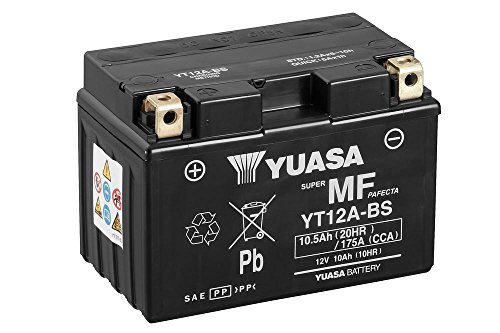 Batterie YUASA YT12A-BS, 12V/9,5AH (Maße: 150x87x105) für Aprilia RSV1000 Tuono V4 APRC Baujahr 2013