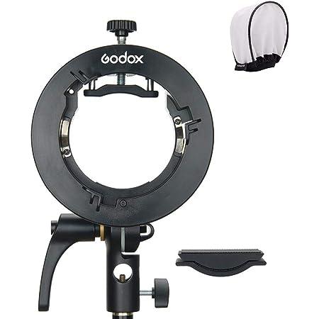 Godox S2ブラケット S型ブラケットホルダー ゴッドクスストロボフラッシュホルダー ボーエンズマウント角度調整可能 ストロボやソフトボックス、ビューティーディッシュ、傘など対応 (S型ブラケットS2)
