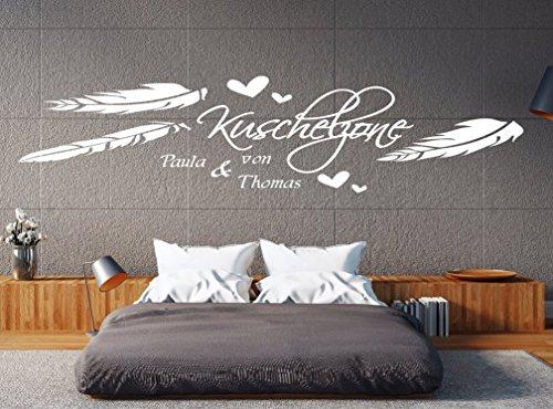 pk97 180 cm Wandtattoo Schlafzimmer Wandtatoo Wohnzimmer Wandtattoo Name Kuschelzone mit Wunschnamen (B180 x H49 cm)