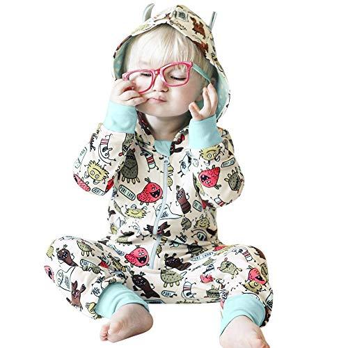 MAYOGO Ropa Bebe Recien Nacido Niño Invierno Hooded ImpresióN De Dibujos Animados 3D Cremallera Manga Larga Mono Traje de bebé Niño Moderna Ropa de Bebe Pijama Lindo 6 Meses, 3-24 Meses