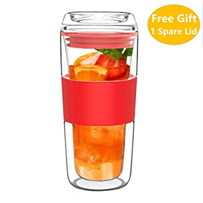 14OZ Double Wall Insulated Glass Tumbler with G...