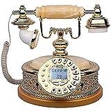Teléfono Fijo Teléfono Con Cable Teléfono Fijo Europeo Vintage Retro Resina Teléfono Residencial Botón De Botón Dial Función De Rellamada Manos Libres Decoración Del Hogar Artesanía De Oficina