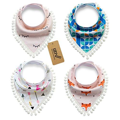 iZiv Bavaglino Neonato - Confezione da 4 Disegni Bandana Bavaglini con Bottoni Regolabile, TPU Impermeabile Fodera per Bambino 0-2 anni (Colore-1)