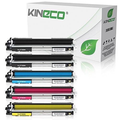5 Kineco Toner kompatibel mit HP CF350A CF351A CF352A CF353A Color Laserjet Pro MFP M176n, M177fw, M170 Series - Schwarz je 1.300 Seiten, Color je 1.000 Seiten