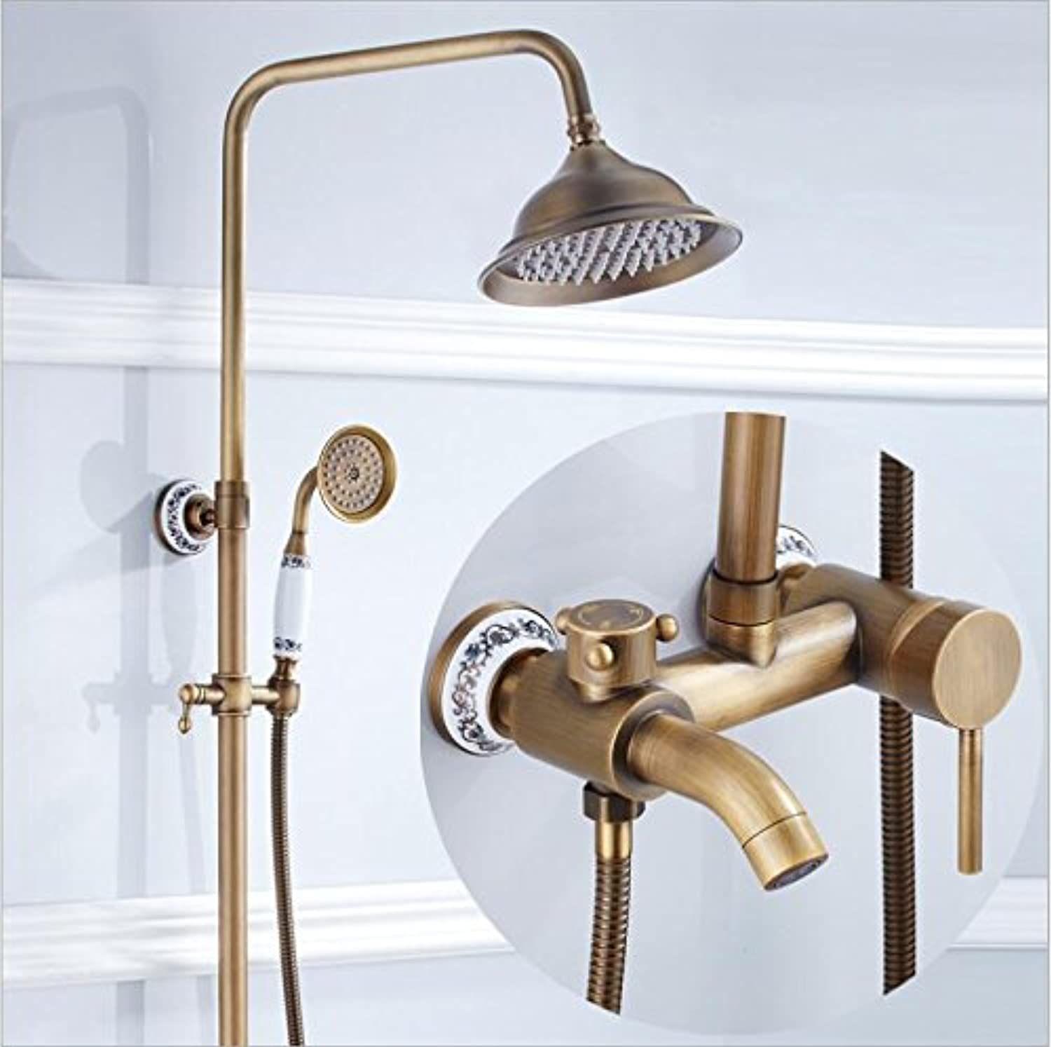 Free Shipping Luxury Antique Brass Rainfall Shower Set Faucet Tub Mixer Tap Hand held Shower Luxury Bath and shower faucet