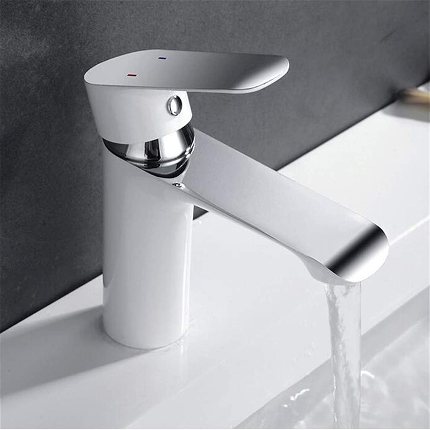 Faucet Washbasin Mixer Bathroom Faucet Deck Mounted Basin Mixer Faucet Chrome Sink Tap Vanity Hot Cold Water Faucet White Painting Tap Faucet