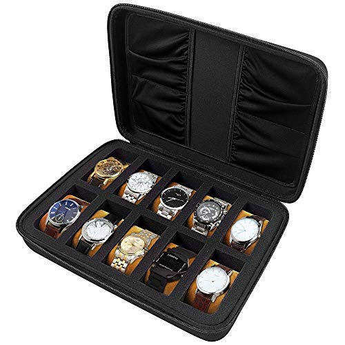 10 Griff Uhrenbox mit Fächern. Aufbewahrung mit Schwammposition, Zubehörtasche für Uhrenarmband, Innenkissen für Männer oder Frauen - Schwarz