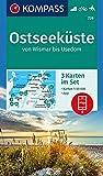 KOMPASS Wanderkarte Ostseeküste von Wismar bis Usedom: 3 Wanderkarten 1:50000 im Set inklusive Karte zur offline Verwendung in der KOMPASS-App. Fahrradfahren. Reiten. (KOMPASS-Wanderkarten, Band 739)