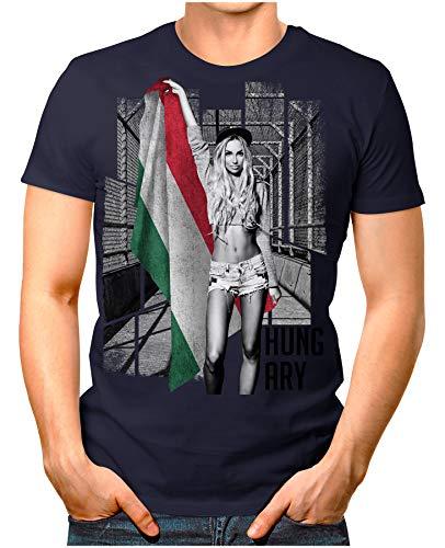 OM3® - Hungary-Soccer-Girl - Herren T-Shirt EM 2020 Fußball Trikot Sexy Frau Ungarn Magyarország Vintage Navy XXL