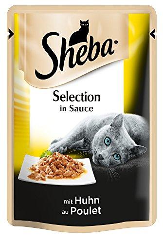 Sheba Selection in Sauce, Katzenfutter im Frischepack, Huhn, 12er Pack (12 x 85 g)