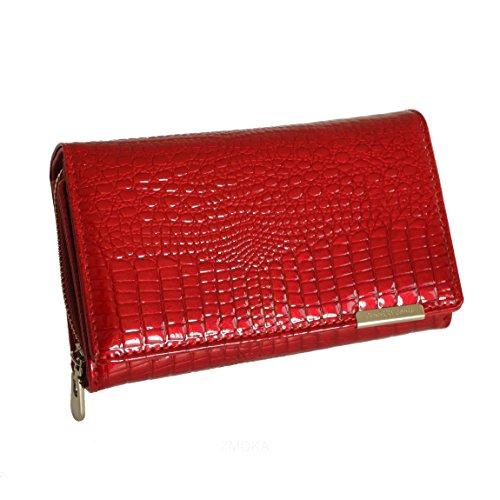 Jennifer Jones - Lang Format sehr feine Leder Croco-Snake elegant Damengeldbörse Portemonnaie (Rubin Kroko Style) - präsentiert von ZMOKA®