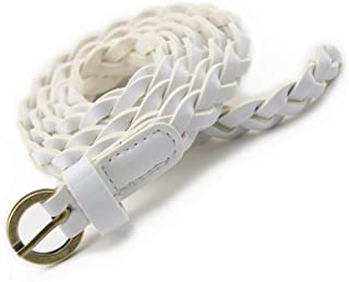 Women Twisted Style Fashion Braided PU Leather Dress & Jeans Thin Waist Rope Belt Rope for Girls and Ladies Round Buckle
