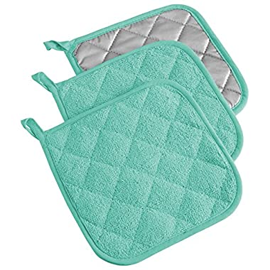 DII Cotton Terry Pot Holders, 7x7   Set of 3, Heat Resistant and Machine Washable Hot Pads for Kitchen Cooking and Baking-Aqua