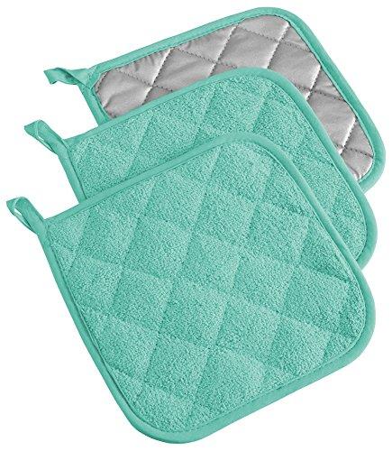 DII Everyday Kitchen Basic Juego de 3 aislantes de calor para olla, de toalla, 100 % algodón, apto para uso diario en la cocina, turquesa
