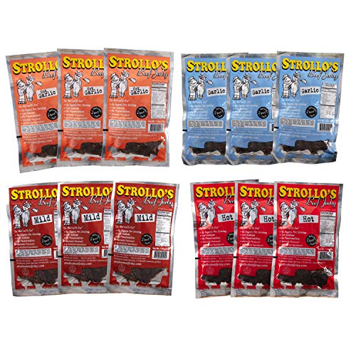 Strollo's Beef Jerky Sampler 12 Pack (3 of Each Flavor)- Low Sodium, Low Sugar, Low Carb - Made with all Natural USA Beef, USDA Certified