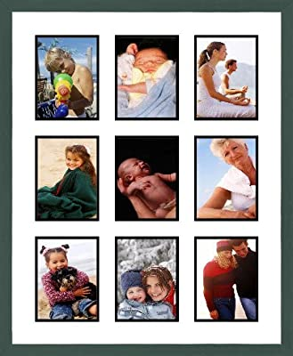 Green Shaker Collage Picture Frame - 9 openings for 4X6 photos