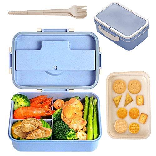 AMOE Caja Bento con Cubiertos, Lunch Box Infantil, Fiambreras con 3 Compartimentos, para Escuela de Trabajo para niños y Adultos, Apto para microondas, con Palillos y Cuchara (Azul)